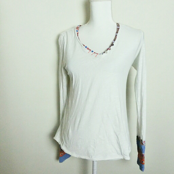 Anthro Little Yellow Button Embroidered Henley